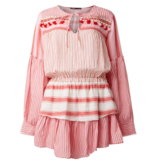 Devotion Devotion dress with valance and red stripes print