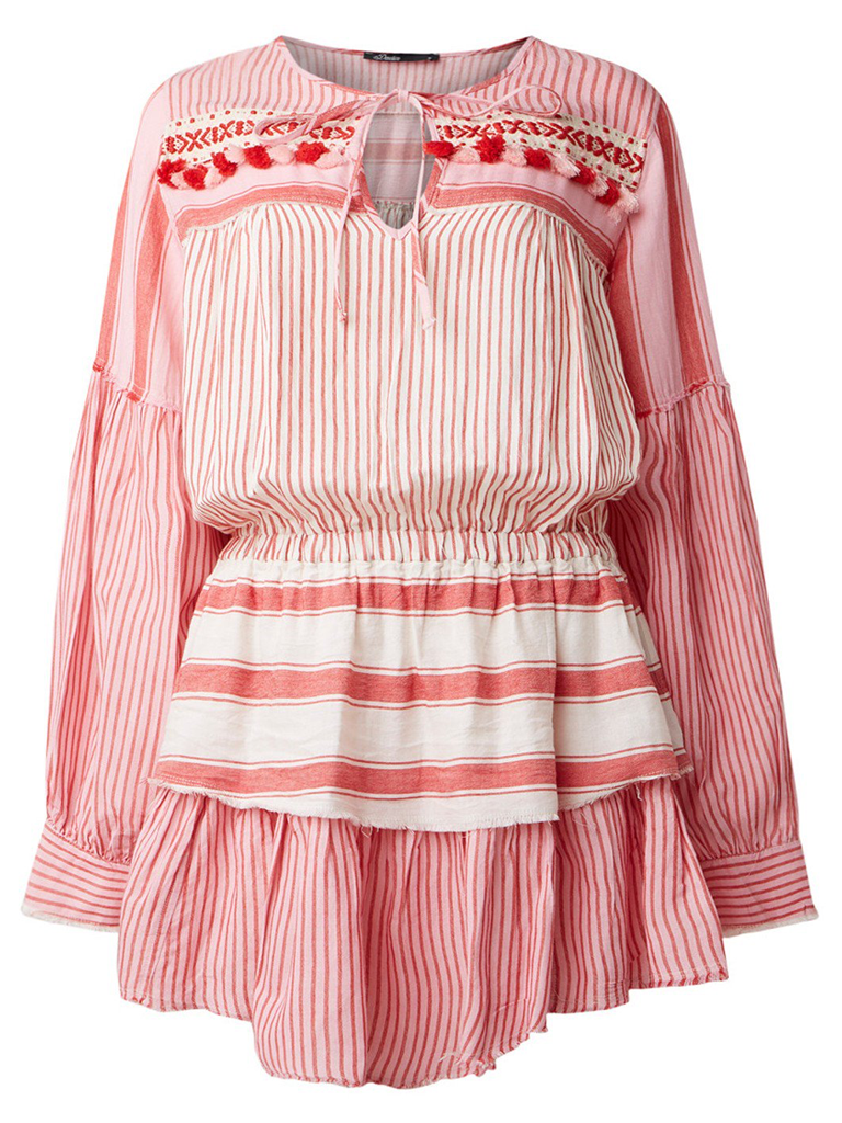 Devotion dress with valance and red stripes print