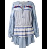 Devotion jurk met volant en strepenprint blauw