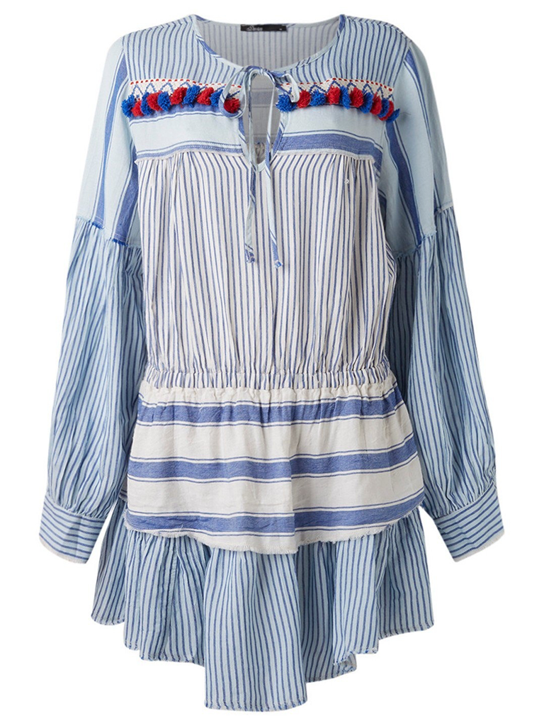 Devotion dress with valance and stripes blue print