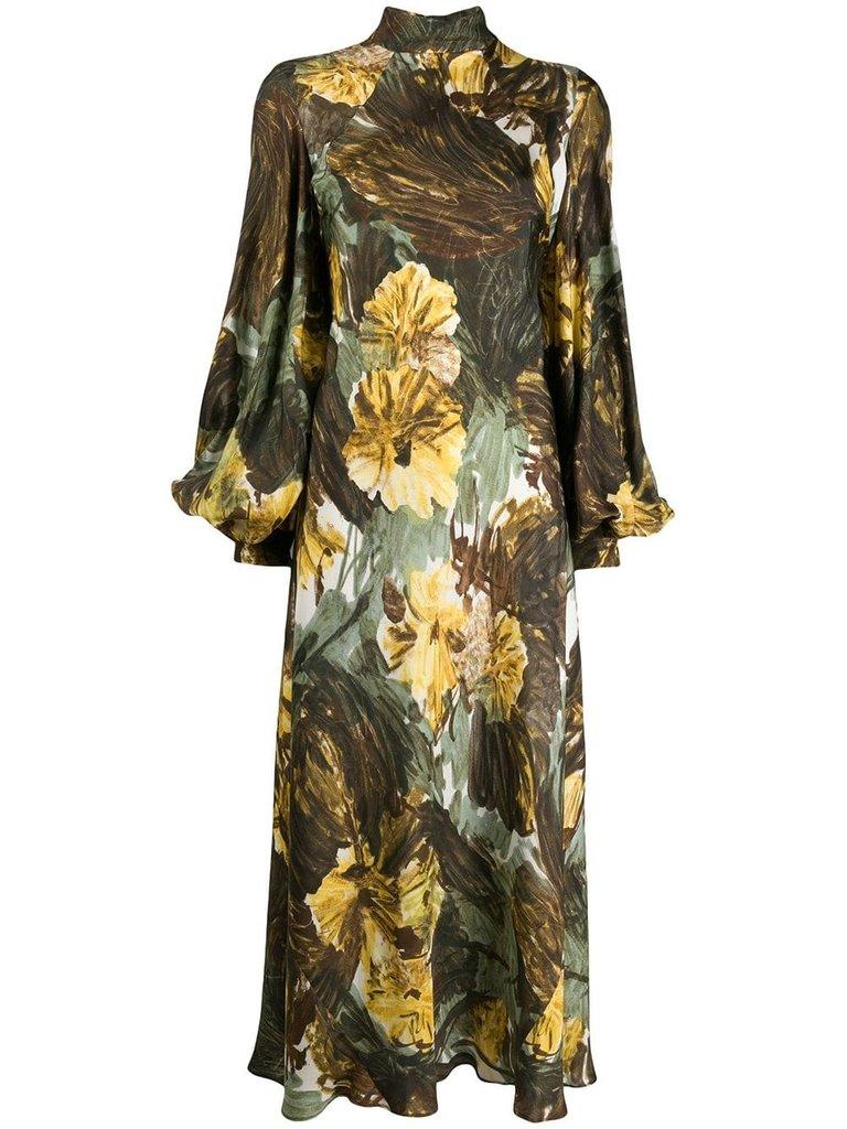 Erika Cavallini midi jurk met volants bloemenprint