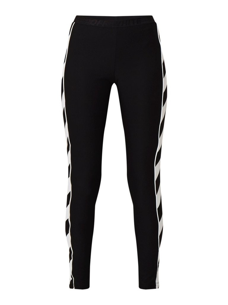 Off-White OFF-WHITE Diag atheltic legging met gestreepte bies zwart