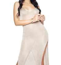 LA Sisters see-trough knitted metallic dress gold