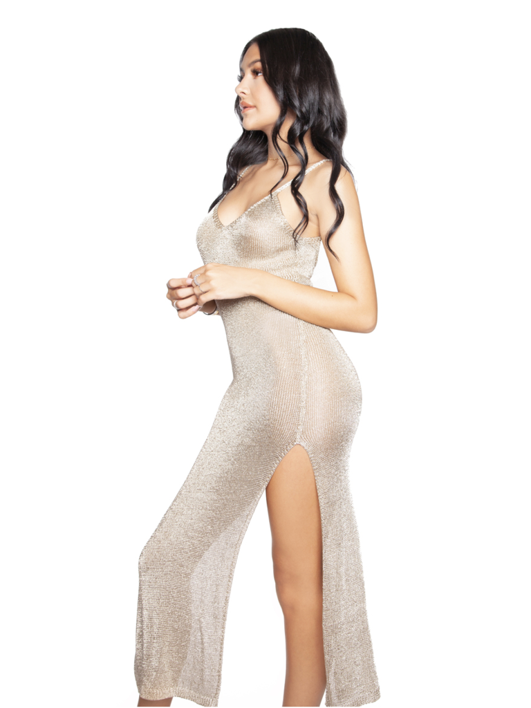 LA Sisters see-trough knitted metallic jurk goud