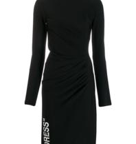 Cremefarbenes, drapiertes Kleid mit schwarzem Rollkragenpullover