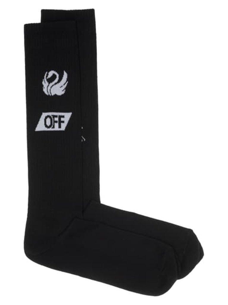 Cremefarbene hohe Socken mit schwarzem Logo