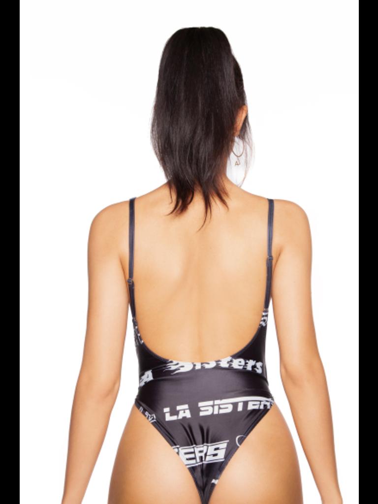 LA Sisters Fonts Badeanzug schwarz