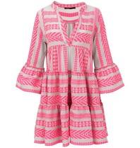 Devotion Devotion Zakar Kleid mit Print und Volant Neon Pink Weiß