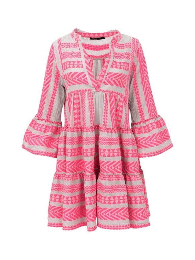 Devotion Devotion Zakar jurk met print en volant neon roze wit