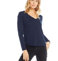 Chaser Chaser top with long sleeves and pocket in dark blue