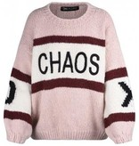 Paul x Claire striped knitted sweater with text nude