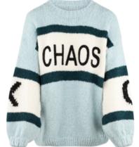 Paul x Claire gestreepte gebreide trui met tekst blauw