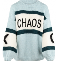 Paul x Claire striped knitted sweater with text blue