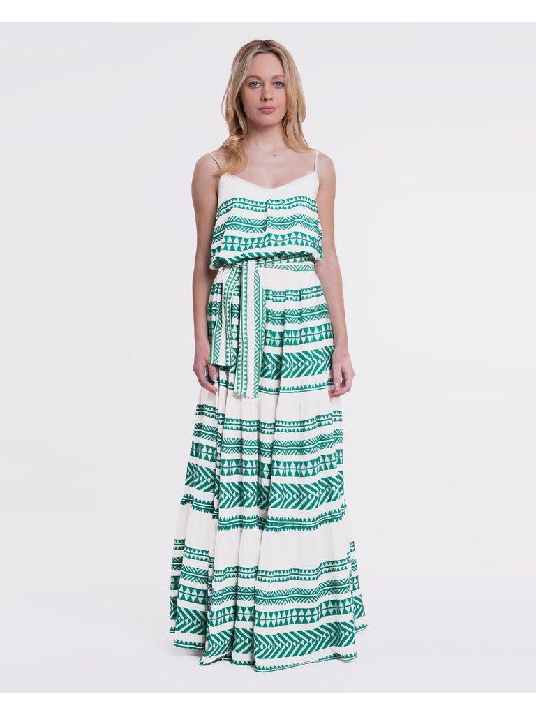 Devotion Devotion maxi jurk met print groen wit