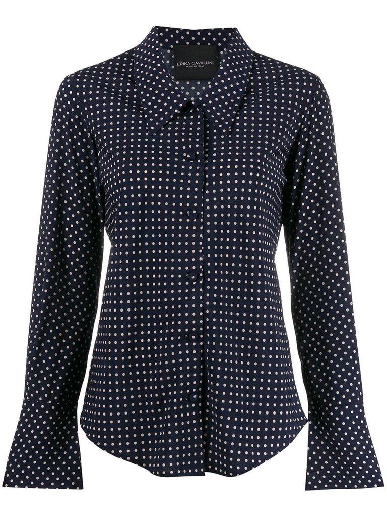 Erika Cavallini Erika Cavallini blouse met stippen print donkerblauw