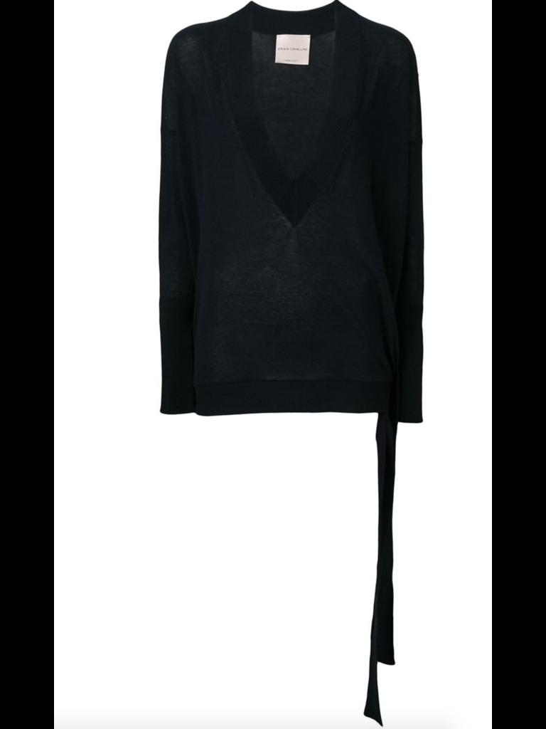 Erika Cavallini v-hals trui met knoop detail blauw