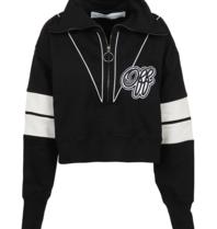 OFF-WHITE Kurzes Sweatshirt mit Logo-Print und Reißverschluss in Schwarz