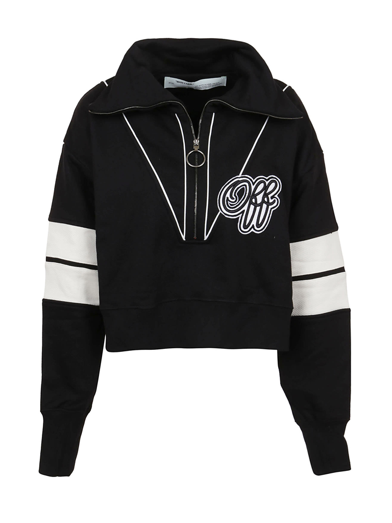 Off-White OFF-WHITE Cropped sweatshirt met logo print en rits zwart