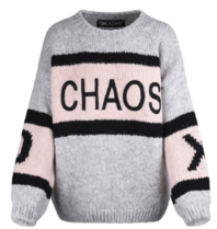 Paul x Claire striped knitted sweater with text gray multicolor
