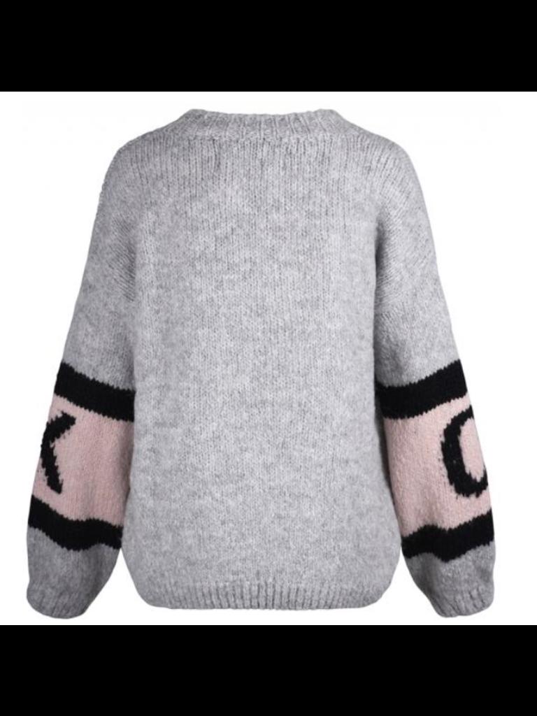 Paul x Claire gestreepte gebreide trui met tekst grijs multicolor