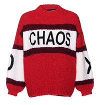 Paul x Claire striped knitted sweater with text red multicolor