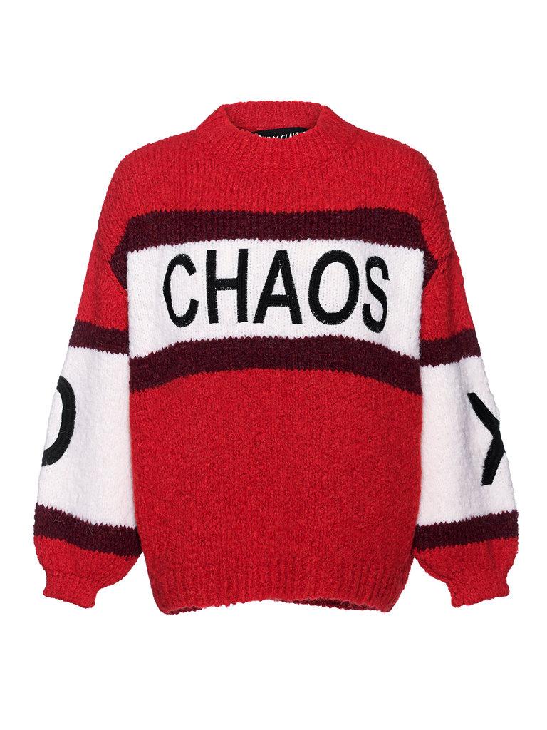 Paul x Claire gestreepte gebreide trui met tekst rood multicolor
