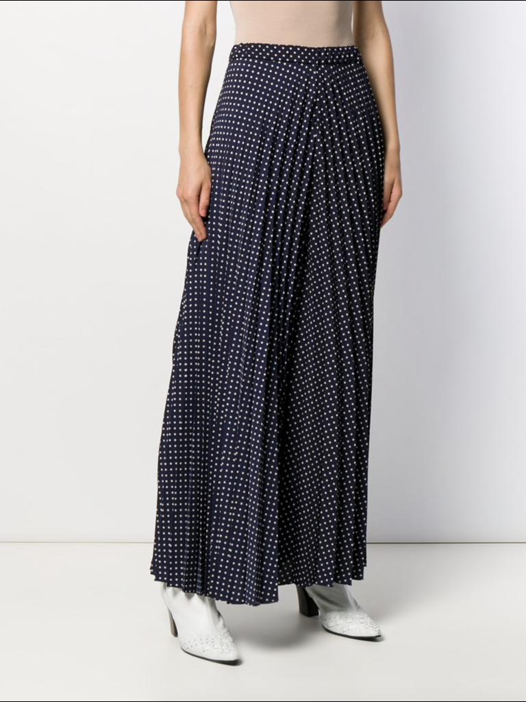 Erika Cavallini Erika Cavallini plissé broek met stippen print donkerblauw