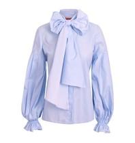 Britt Sisseck Britt Sisseck Daisy blouse blauw met strik