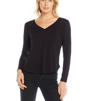 Chaser T-Shirt mit langen Ärmeln und V-Ausschnitt schwarz