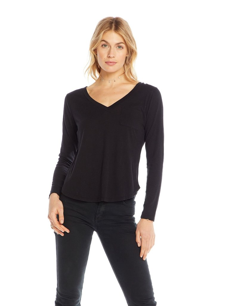 Chaser T-shirt met lange mouw en v-hals zwart
