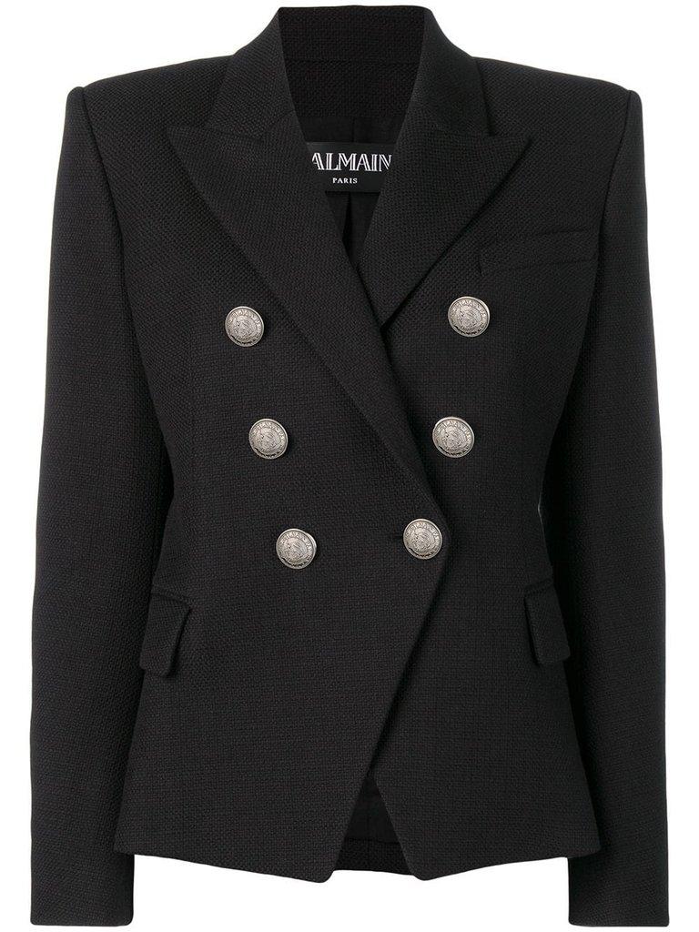 Balmain Blazer mit silbernen Knöpfen schwarz