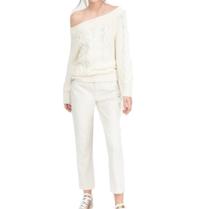 Semicouture-Off-Shoulder-Pullover mit cremefarbenem Motiv