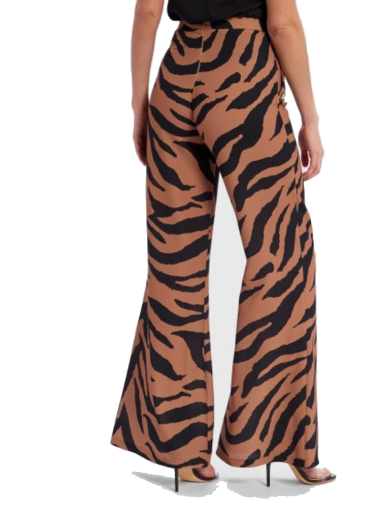 Forever Unique Forever Unique Zalia flaired trousers with zebrapirnt