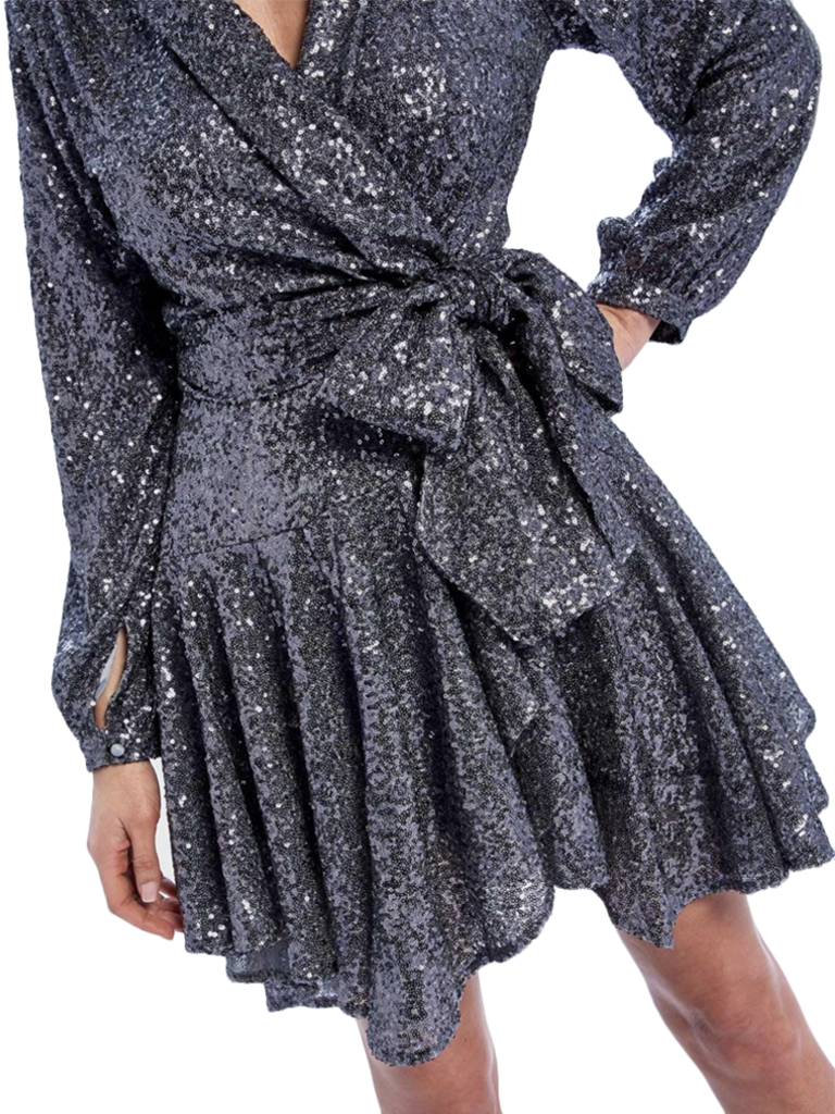 Forever Unique Forever Unique Yolanda wrap dress with sequins and bow silver