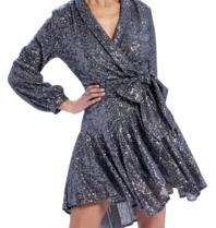 Forever Unique Yolanda wrap jurk met sequins en strik zilver