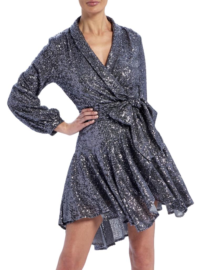 Forever Unique Forever Unique Yolanda wrap jurk met sequins en strik zilver