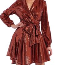 Forever Unique Yolanda Wickelkleid mit Pailletten und Schleife in Orange