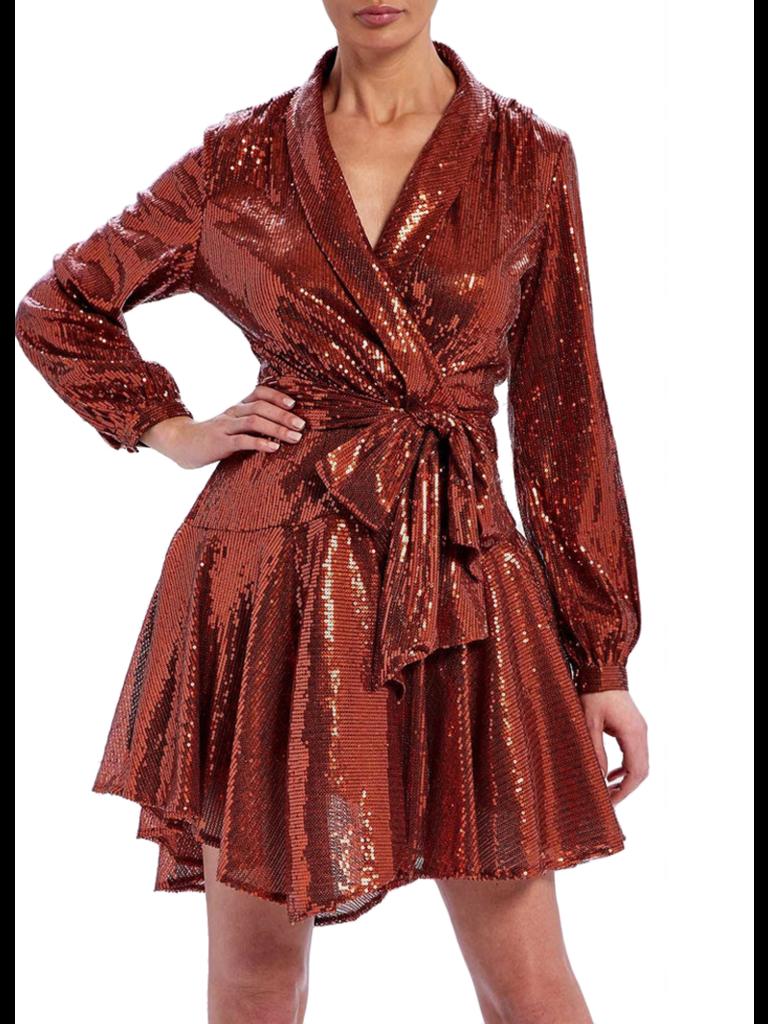 Forever Unique Forever Unique Yolanda wrap jurk met sequins en strik oranje