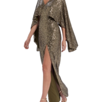 Forever Unique Forever Unique Rio maxi dress with sequins khaki
