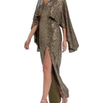Forever Unique Forever Unique Rio maxi jurk met sequins khaki
