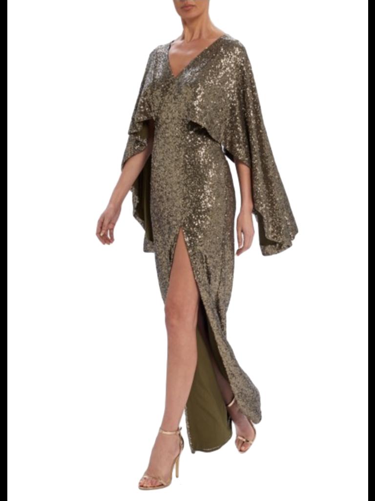 Forever Unique Forever Unique Rio maxi dress with sequins khaki
