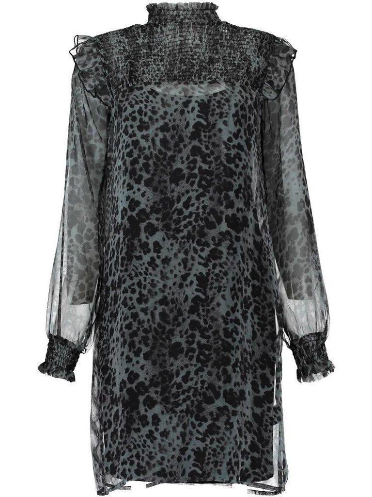 Freebird Bella jurk met luipaard print grijs