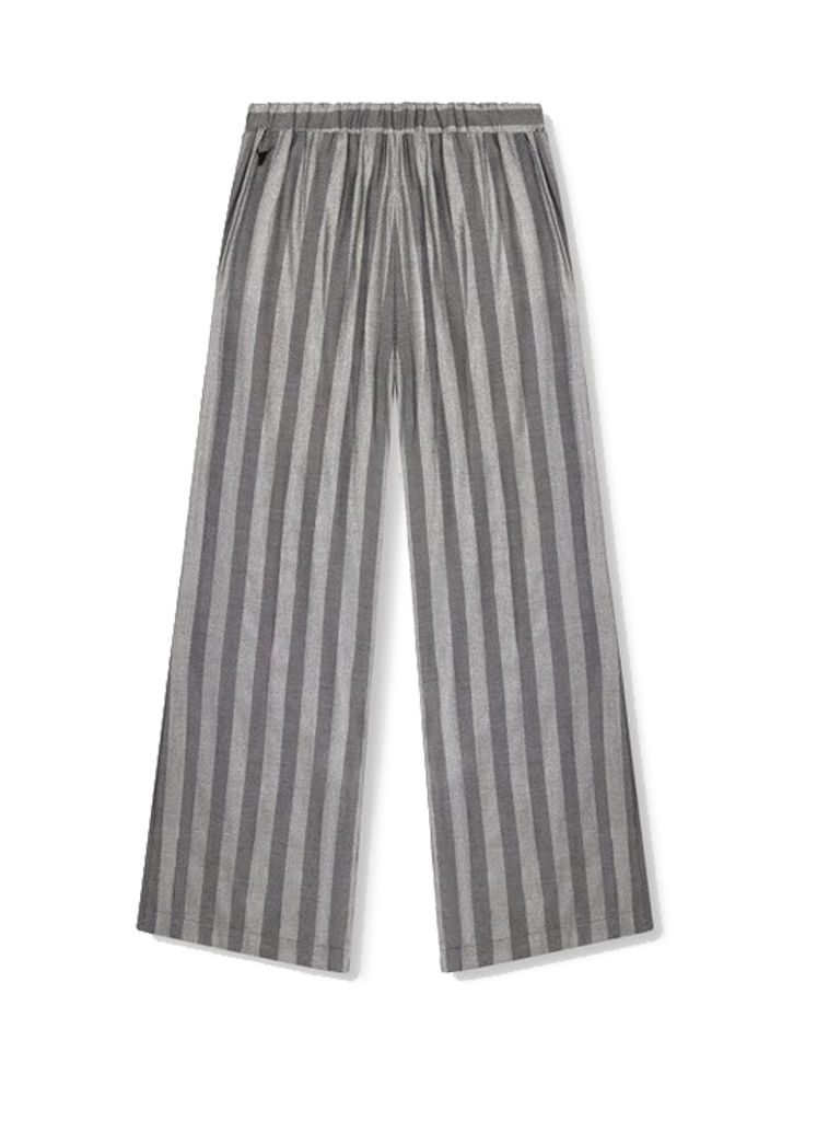 Alix the Label wide flared trousers with gray lurex stripes