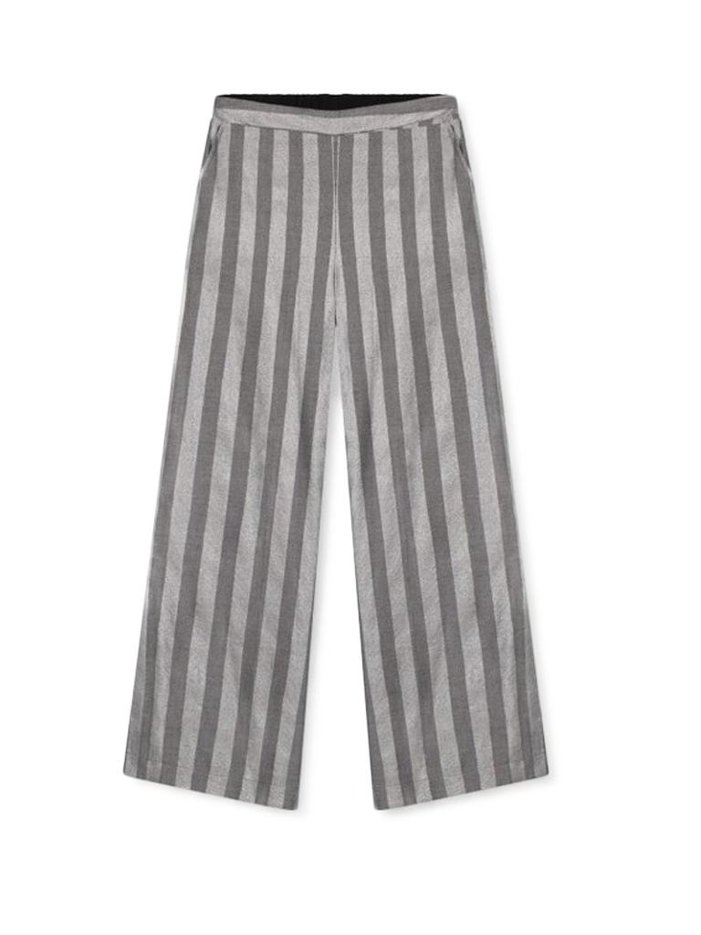 Alix The Label Alix the Label wijd uitlopende pantalon met lurex strepen grijs