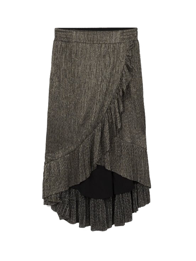 Alix the Label midi mesh skirt with lurex details and ruffles of silver