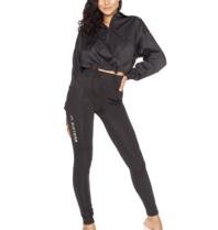 LA Sisters high waisted hologram leggings black