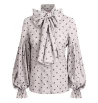 Britt Sisseck Daisy blouse met patroon en strik grijs
