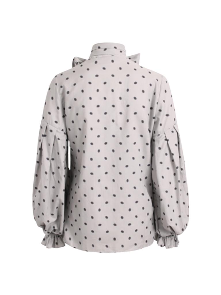 Britt Sisseck Britt Sisseck Daisy blouse met patroon en strik grijs