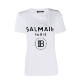 Balmain Balmain T-shirt met velvet logo wit