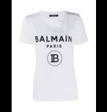 Balmain Balmain T-Shirt mit Samtlogo weiß
